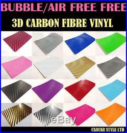 3D Carbon Fibre Vinyl Wrap Film Sheet Sticker Textured Air/Bubble free MultiSize