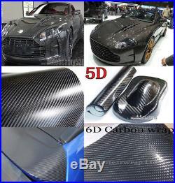 Black 2D 3D 4D 5D 6D Carbon Fibre Vinyl Wrap Vehicle Sticker Sheet Bubble Free