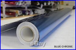Blue Chrome Vinyl Roll 5ft x 54ft Supreme Bubble-Free Sticker Sheet Decal Wrap