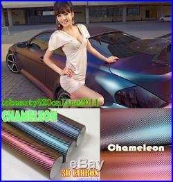 Chameleon 3D Carbon Fibre Vinyl Car Vehicle Wrap Film Sticker Air/Bubble Free
