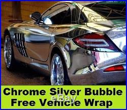 Chrome Silver Vehicle Wrap 1.52 x 15 Meter Roll Bubble Free Vinyl 3 Layer