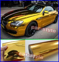 Full Roll Glossy Mirror Chrome Gold Vinyl Film Car Wrap Sticker Bubble Free