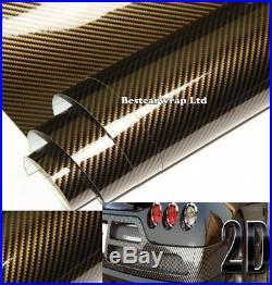 Gold / Black Gloss 2D Carbon Fiber Vinyl Wrap Car Film Sticker Sheet Bubble Free