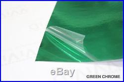 Green Chrome Vinyl Roll 5ft x 34ft Bubble-Free Wrap for Car Bike Boat Trailer