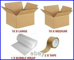 Home Removals Packing Kit, 10 Large & 10 Medium Boxes, Bubble Wrap, 2 Rolls Tape