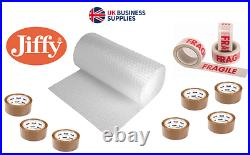 JIFFY Small/Large Bubble Wrap 50m/100m x 300/500/750mm with optional packing tape