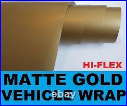 Matte Gold Wrapping Vinyl 1.52 x 4 Meter Roll Hi-Flex Bubble Free Car Wrap