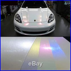 Premium Glossy Pearl White Vinyl Chameleon Wrap Car Sticker Decal Bubble Free
